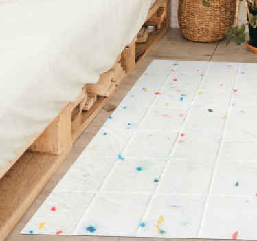 This modern vinyl rug with white background and colour stains, perfect to fill with colour and joy your bedroom or any place where you want to use it.