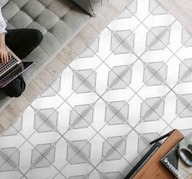 A grey modern vinyl flooring with a tile design that will give a touch of elegance to your home without the need to dismantle or remove things.