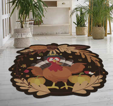 Thanksgiving vinyl rug which features a lovely cartoon turkey surrounded by autumn leaves and pumpkins. High quality materials.