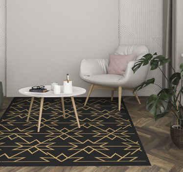 Ein erstaunlicher bodenvinylteppich mit goldenen sternenentwurf auf schwarzem Hintergrund. Dieser teppich kann Ihr esszimmerteppich, wohnzimmer-mittelteppich usw. Sein.