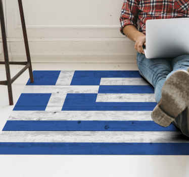 Flag vinyl rug which features an image of the Greek flag made from wood. High quality vinyl materials used. Worldwide delivery.