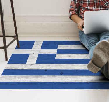 Flag vinyl matto, jossa on kuva kreikan lipusta puusta. Käytettyjä korkealaatuisia vinyylimateriaaleja. Toimitus maailmanlaajuisesti.