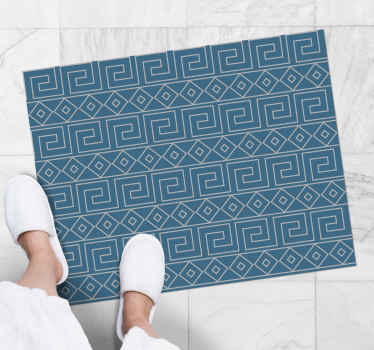 Greek key pattern ethnic vinyl rug for any floor space in the home. It can be placed on a bathroom space, entrance and any other interior area.