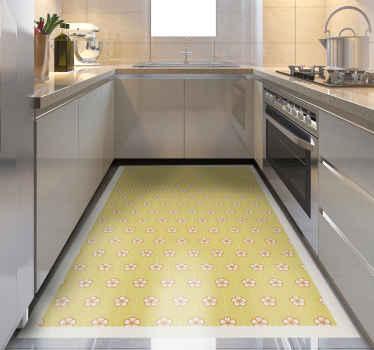 花香的乙烯基地毯,上面有令人惊叹的樱花花朵图案,中间有小点的点线。高质量。