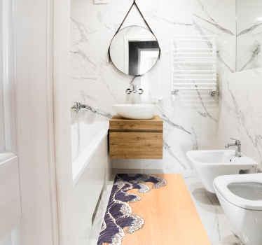 Alfombra vinílica baño que presenta una imagen de ondas dibujadas en una forma de arte tradicional japonesa ¡Envío exprés!