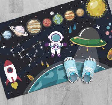 Alfombra vinílica infantil con diseño del sistema solar, ovni, cohetes, astronautas y asteroides para el cuarto de tu hijo ¡Envío exprés!
