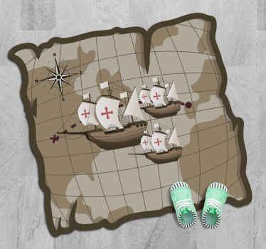 Alfombra vinílica mapamundi que presenta una imagen de cerca del mapa del mundo con 3 barcos navegando a través ¡Compra online!