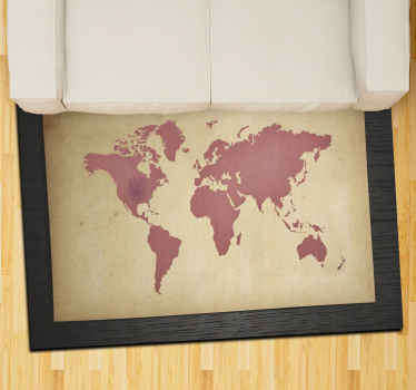 Alfombra vinílica mapamundi que presenta una imagen impresionante de un mapa del mundo sobre un fondo vintage