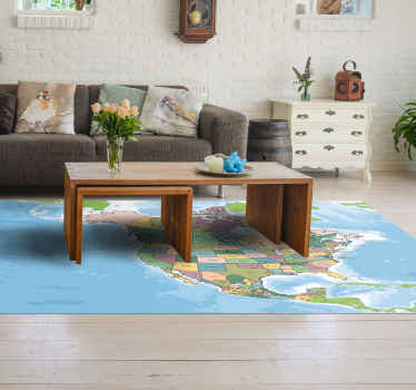 A colorful North American map vinyl rug to make your decoration home original and wonderful. High quality product delivered to your house.