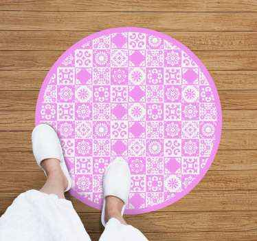 An abstract vinyl rug in pink and white to decorate any space you want. High quality and very resistant product delivered to your house.