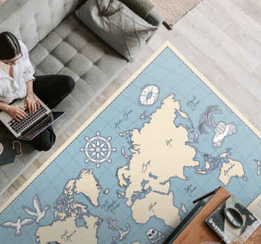 Vintage vinyl rug with a world map. Easy to clean and store if neccessary. Add proper size to the basket. Check it out yourself!