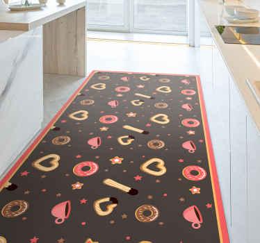 Churros und donuts Muster küche vinyl bodenteppich. Schöne kekse entwerfen Vinyl Teppich, um Ihre küche in einen interessanten und ansprechenden look zu verwandeln.
