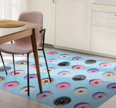 Realistischer donut Muster vinyl teppich für küchenboden. Ihre kinder würden gerne in der küche helfen, nur um das Design auf diesem teppich zu sehen.