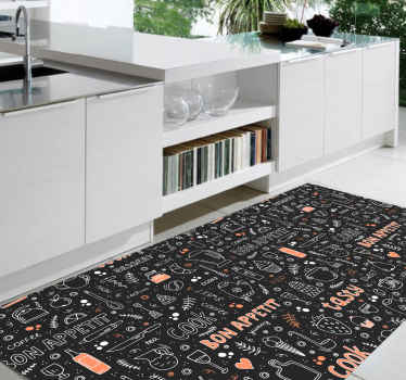 Bon appetit pattern kitchen floor carpet with various text inscriptions for dinning. It also contains design drawings of cutleries and cooking wares.