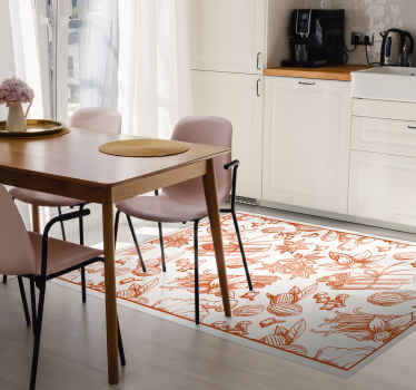 Brown spices kitchen floor tiles carpet to turn your kitchen space into an amazing piece. Beautiful and top quality vinyl kitchen cover mat.