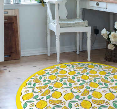 Lovely kitchen round-tip vinyl rug with amazing design of different lemons. This illustrative lime pattern vinyl carpet is original and durable.