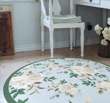 Elegant roses pattern floor tiles. This carpet can be placed on any floor space in at home, it is original, durable and easy to maintain.