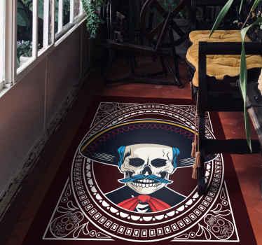 Fantástica alfombra vinílica étnica perfecta para decorar con un estilo étnico mexicano. Perfecta para salón o dormitorio ¡Compra online!