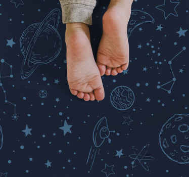 Fantastic blue carpet with planets to decorate your child or baby's room or playroom with an amazing galaxy design. Anti-slip.