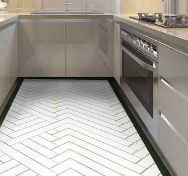 An abstract white tiles mosaic vinyl flooring, made of vinyl perfect to give a classic and artistic look to your kitchen. Available in 50 colours.