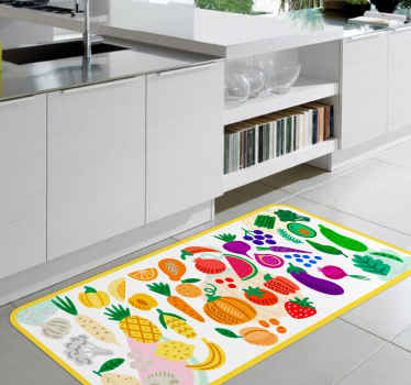 The perfect way to decorate your kitchen floor with this different fruits and vegetables vinyl rug for kitchen. High quality product!