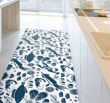 Vinyl rug with black elements, perfect for decorating your kitchen. Easy to clean and store. Made of high quality vinyl.