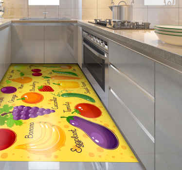 Vegetables and fruits vinyl rug, great a a decoration for your kitchen. Easy to clean and store. 100% satisfaction. Made of high quality vinyl.