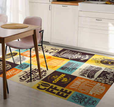 Vinyl rug with retro patterns is a great solution for your kitchen. Easy to clean and store. Made of high quality material.