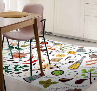 Vinyl rug with seasonings, perfect for your kitchen. Easy to clean and store if neccessary. Made of high quality vinyl material.