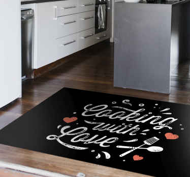A cooking with love vinyl rug to make the floor of your house look wonderful. The vinyl rug is made of high quality vinyl.