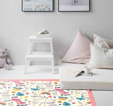Una alfombra vinilo infantil mágica feliz de unicornios para decorar la habitación de tus hijos y llenarla de magia ¡Envío exprés!