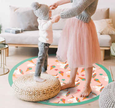 Cute unicorns and ice creams pattern vinyl rug to give your kid's room the cutest look. Choose the right size for this round shape vinyl carpet.