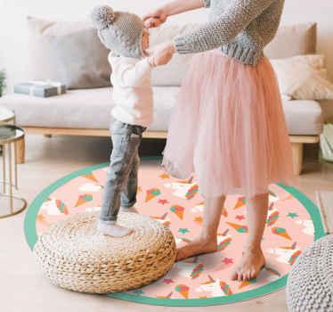 Søte enhjørninger og iskremmønster vinylteppe for å gi barnas rom det søteste utseendet. Velg riktig størrelse for dette runde vinylteppet.