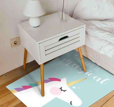 Uma vida é mágico tapete de vinil unicórnio para tornar o quarto do seu filho um lugar mágico. Disponível em vários tamanhos para sua forma quadrada.