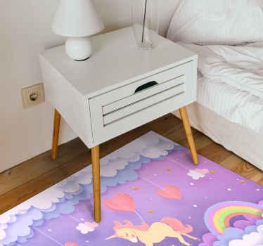 Unicórnios fofos e carpete de vinil com elementos do céu em formato retangular para decorar o quarto do seu filho. Muitos tamanhos disponíveis para você!