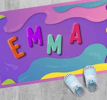 Hermosa alfombra vinilo con nombre personalizable en 3d de colores para la decoración de la habitación de tu bebé ¡Compra online!