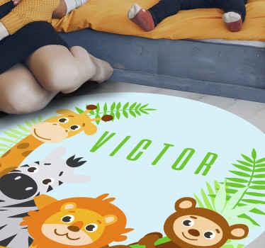 Jungle dieren vinyl vloerkleed, geweldig als decoratie voor uw kinderkamer. Gemakkelijk schoon te maken en op te bergen. Gemaakt van hoogwaardig vinyl.