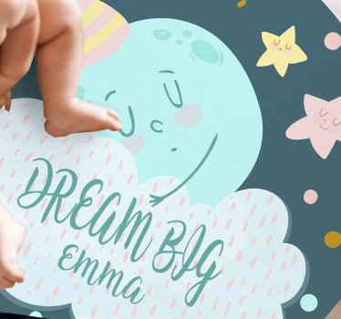 Alfombra vinílica infantil de luna durmiente con un nombre, ideal como regalo personalizado para su hijo ¡Compra online ahora!