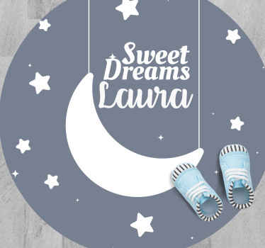 Kids vinyl rug design which features the text 'sweet dreams' surrounded by stars and has the option to add a personalised name.