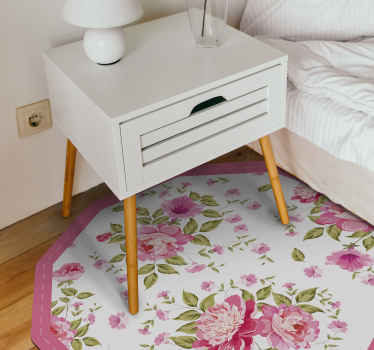 Give your bedroom a more natural look with this pretty blooming rose vinyl rug! Breathe in the fresh air of the flowers today!