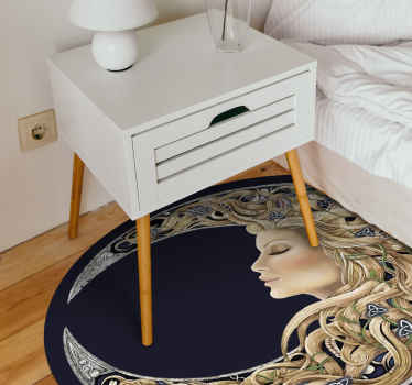 Give your floor the uniqueness it deserves today with this mystical moon woman vinyl rug! Order your very own moon today at our webshop!
