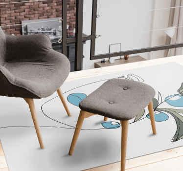 Añada un toque de elegancia a su espacio con esta sencilla pero bonita alfombra vinilo blanca con motivos florales ¡Compra online!