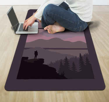 Sunset in the mountains bedroom vinyl rug design. This carpet can also be placed on other areas in a house. It is easy to maintain and durable.