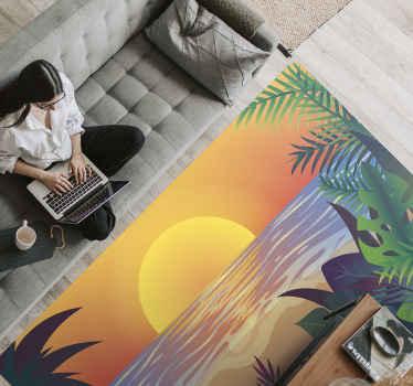 Retrouvez l'ambiance estivale avec ce tapis en sticker de plage rétro coucher de soleil. ces stickersest très facile à nettoyer si vous utilisez de l'eau et du savon ordinaires. Acheter maintenant!