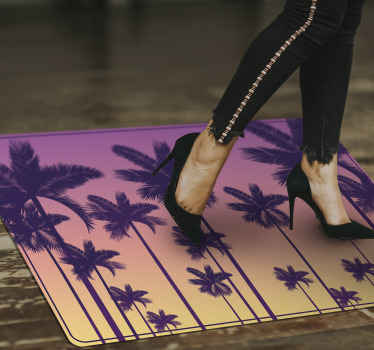 Get the coolest and hippest sunset palm vinyl rug our website has to offer today, and receive it soon! Easy to wash and sweep. Buy it today!