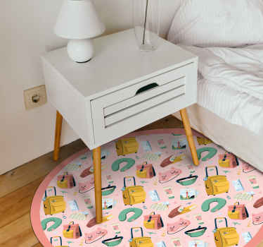A map, suitcases, bags and more vinyl rug for all those travellers lovers on a pink background and round shape. High quality product!