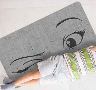 A fantastic way to change the aspect of your teenagers room with this winking eyes vinyl rug with a grey background. High quality product!