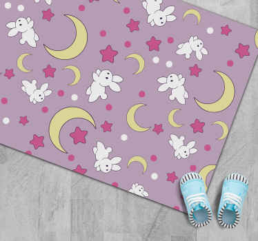 Your children will not be able to help but fall in love with this vinyl rug! It offers a cute bunny and moon perspective.