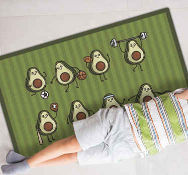 Vinyl rug with cute avocados, perfect as a decoration for kids room. 100% satidfaction. Made of high quality vinyl material.