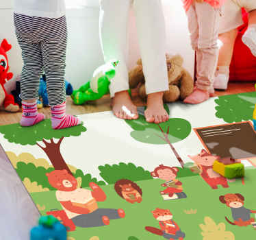 Vinyl rug with forest animals, perfect as a decoration for your kids room. Easy to apply, made of high quality material. 100% satisfaction.